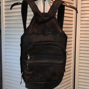 Eddie Bauer vintage worn leather backpack black